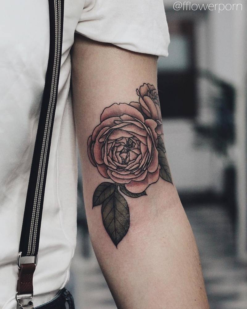 Illustrative Pink Rose Tattoo On The Left Bicep Ideas And Designs