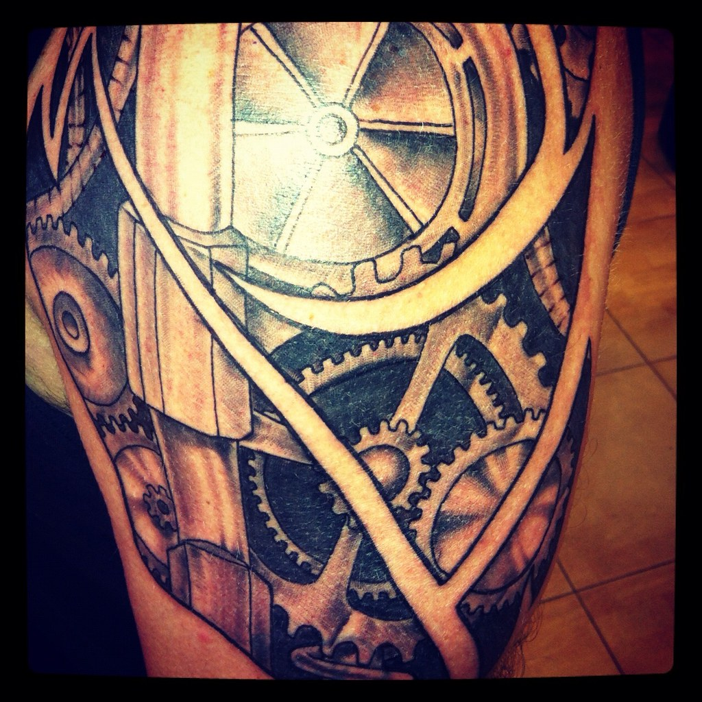 Mechanical 1 4 Sleeve By Mike Barrs Old Buffalo Tattoo Ideas And Designs