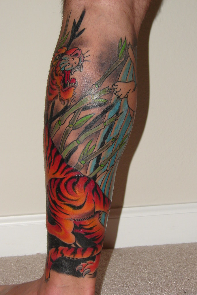 Leg Tattoo Back After Seating 4 For My Tiger Tiger Ideas And Designs
