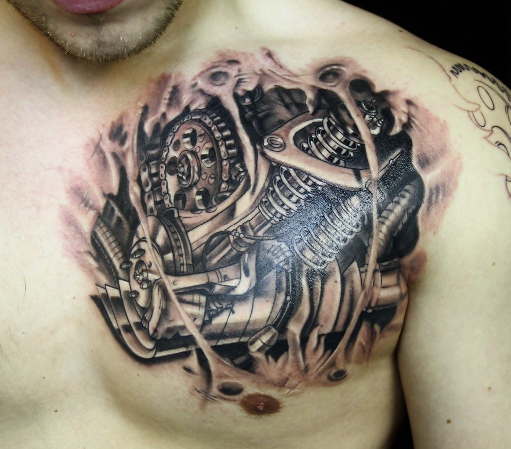 3D Realistic Motorcycle Parts Tattoo Broken Skin Www Ideas And Designs