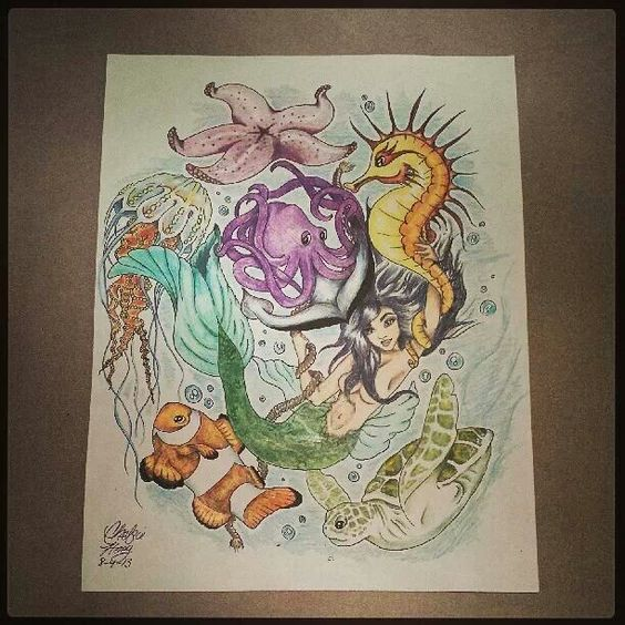 Sea Creatures 1 2 Sleeve Tattoo Design By Chelsie Haeg Ideas And Designs