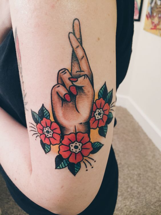 Fingers Crossed Tattoo By Barrett Fiser At Electric Tattoo Ideas And Designs
