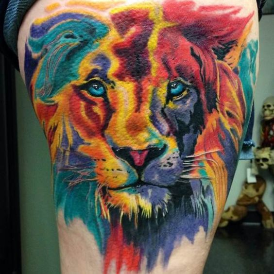 Colorful Lion Tattoo Tattoo Tattooed Tattoos Ideas And Designs