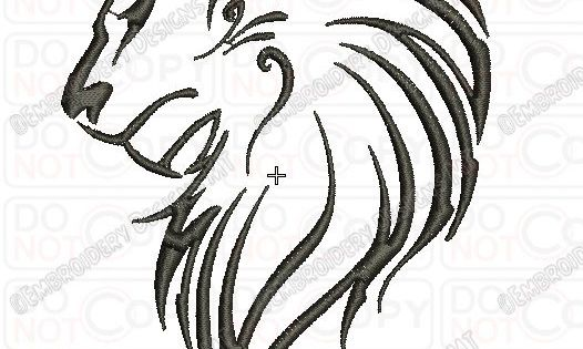 Lion Outline Tribal Embroidery Design In 3X3 4X4 And 5X7 Ideas And Designs