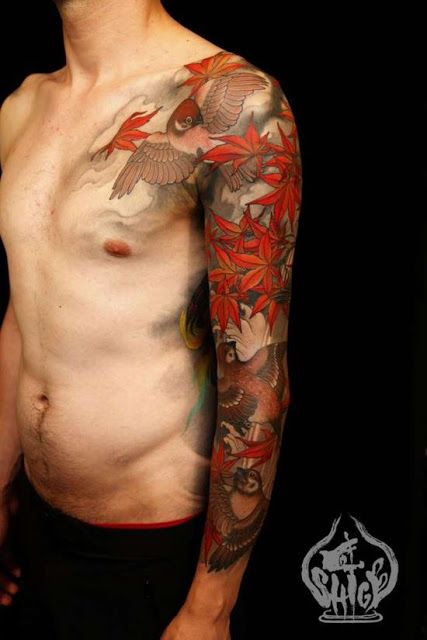 Leaf Tattoos Colorful Flying Birds And Leaves Tattoo On Ideas And Designs