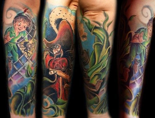 Disney Tattoos Painterly Peter Pan Sleeve Tattoo Love Ideas And Designs
