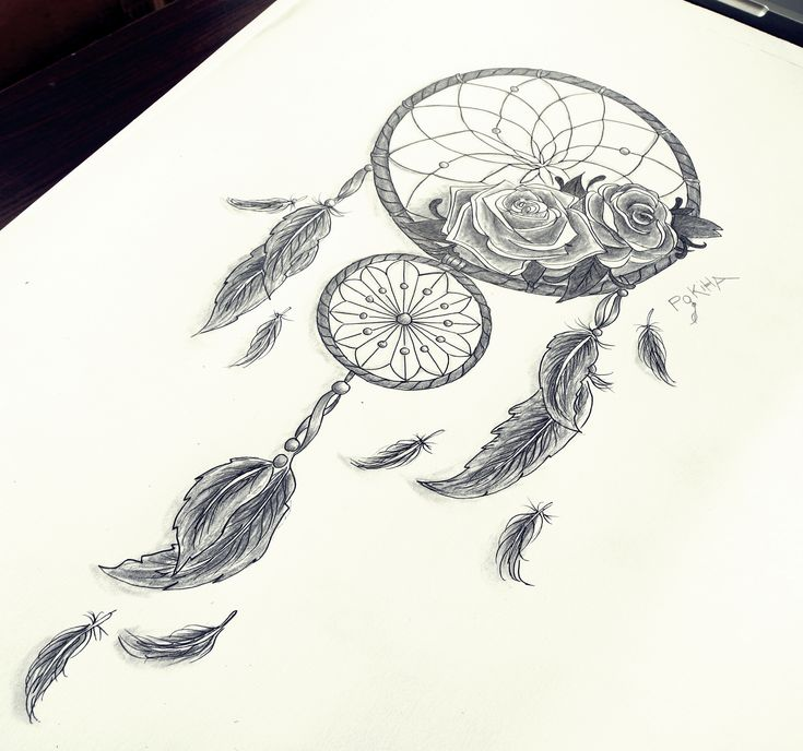 Dreamcatcher Roses Feathers By Pokiha Drawings Ideas And Designs