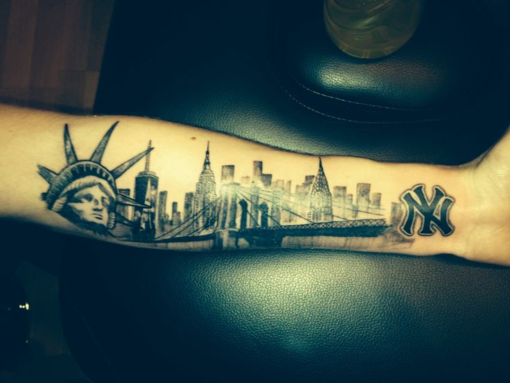 Nyc Skyline Tattoo On My Arm Statue Of Liberty One World Ideas And Designs
