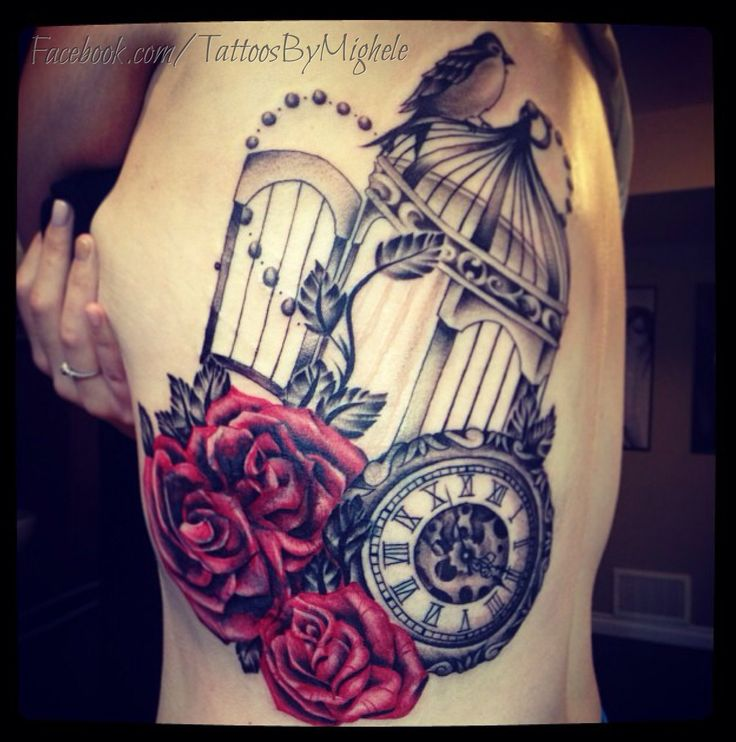Clock Roses And Birdcage Tattoo Tattoos By Mighele Ideas And Designs