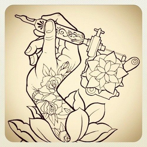 Tattoo Sketch Hand With Tattoo Machine And Rose Tattoos Ideas And Designs