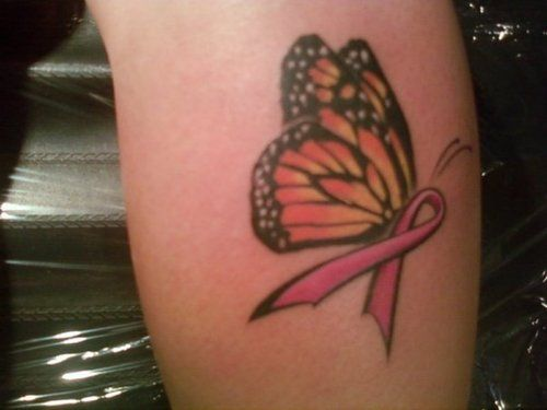 Butterfly Ribbon Symbol Suvivor Cancer Tattoos Cancer Ideas And Designs