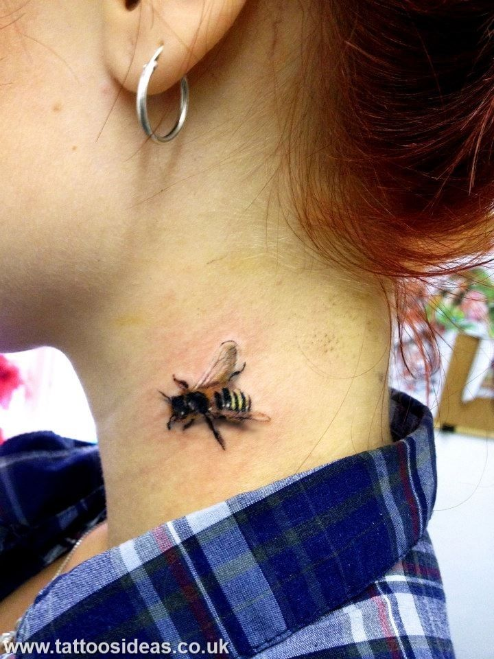 3D Little Bee In The Neck Tattoo Bee Tattoo Pinterest Ideas And Designs