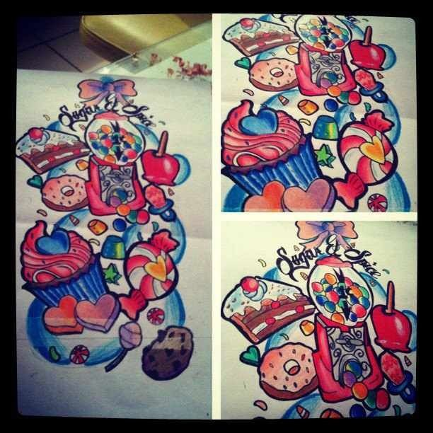 Candy Sleeve Tattoo Tatts Pinterest Sleeve Sleeve Ideas And Designs
