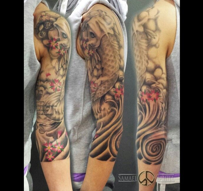 Feminine Koi 3 4 Sleeve Tattoo By Samael Cahill Tattoo Ideas And Designs