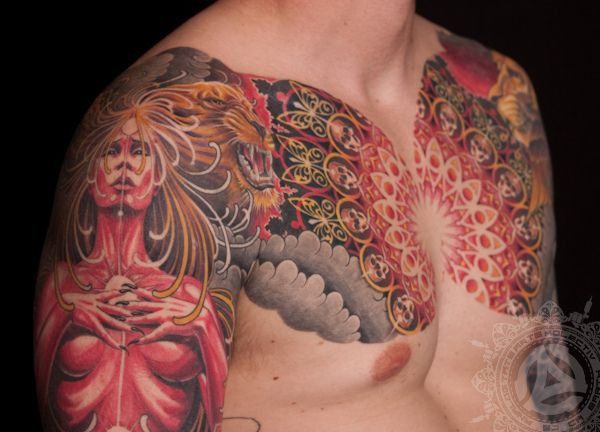 By Adrian Lee Of Analog Tattoo Chest To Sleeve Body Ideas And Designs