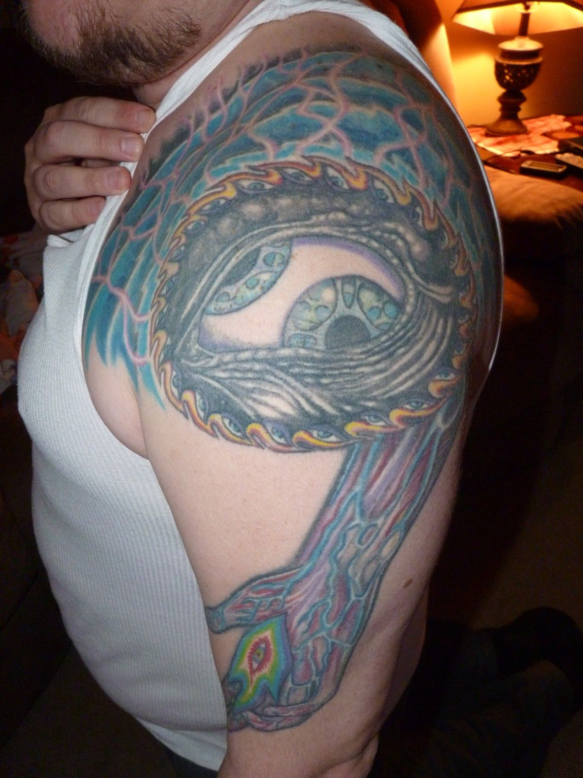 Tool Third Eye Tattoo On Shoulder Tool Band Cross Tattoo Ideas And Designs