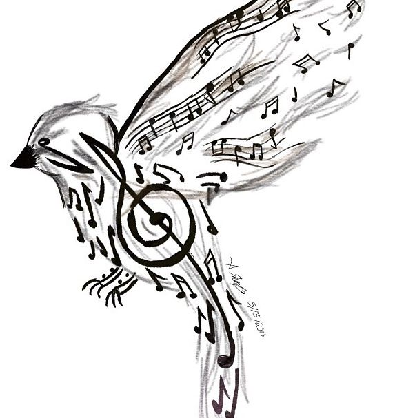Music Note Bird Tattoo Music Note Bird Tattoo Ideas And Designs