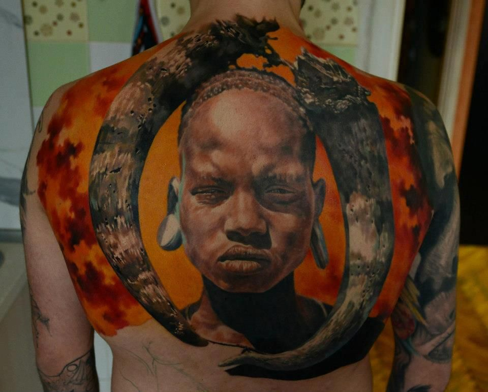 Tribal Womans Portrait Tattoo Back African Women Ideas And Designs