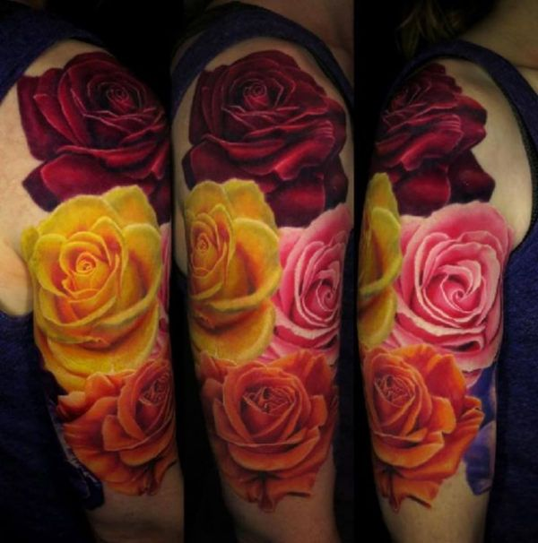 4 Colored Rose Flowers 3D Tattoo Http Tattootodesign Ideas And Designs