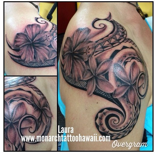 Polynesian Tribal With Hibiscus Plumeria Flowers Ideas And Designs
