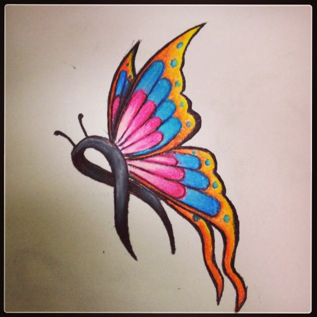 Butterfly Cancer Ribbon Tattoo Design Colored Pencil Ideas And Designs