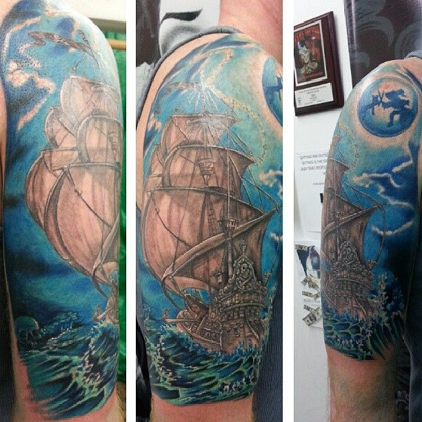 Disney Tattoo Captain Hook Ship Peter Pan Black And White Ideas And Designs