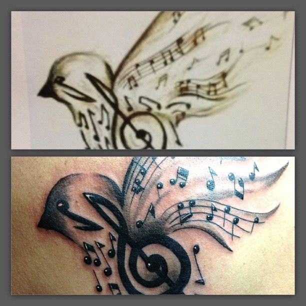 Bird With Musical Notes Tattoo By Russell Van Schaick From Ideas And Designs