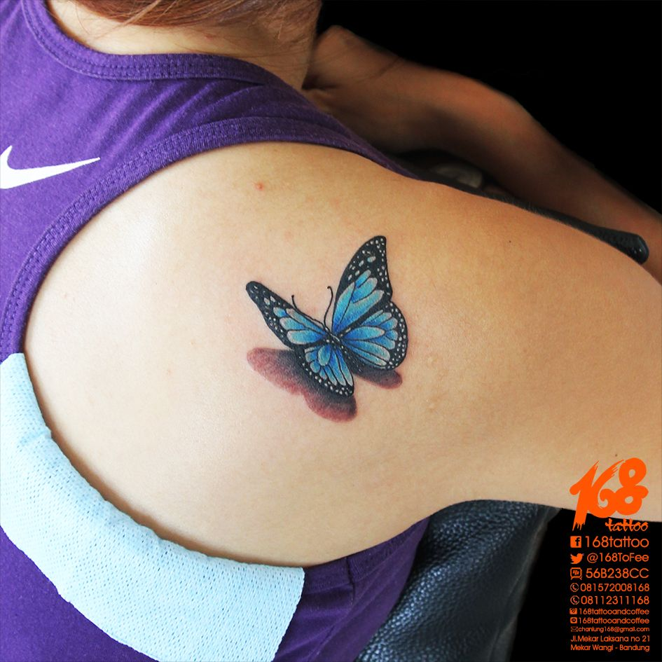 3D Blue Butterfly Tattoo On Shoulder By Chanlung At 168 Ideas And Designs