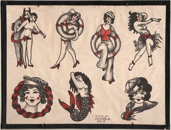 1930 S Vintage Percy Waters Tattoo Flash Series A 7 By Ideas And Designs
