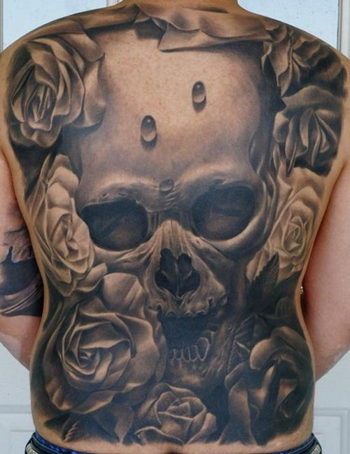 3D Skull Tattoos Designs On Full Back Full Back Tattoos Angel Wings Skulls Skeletons Ideas And Designs