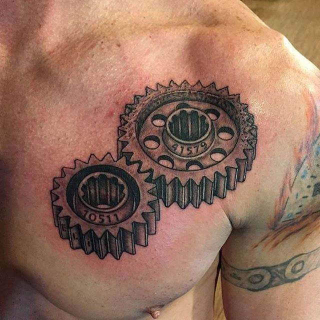 Gears Tattoo On Chest Done By Jesse Myers Gears Ideas And Designs