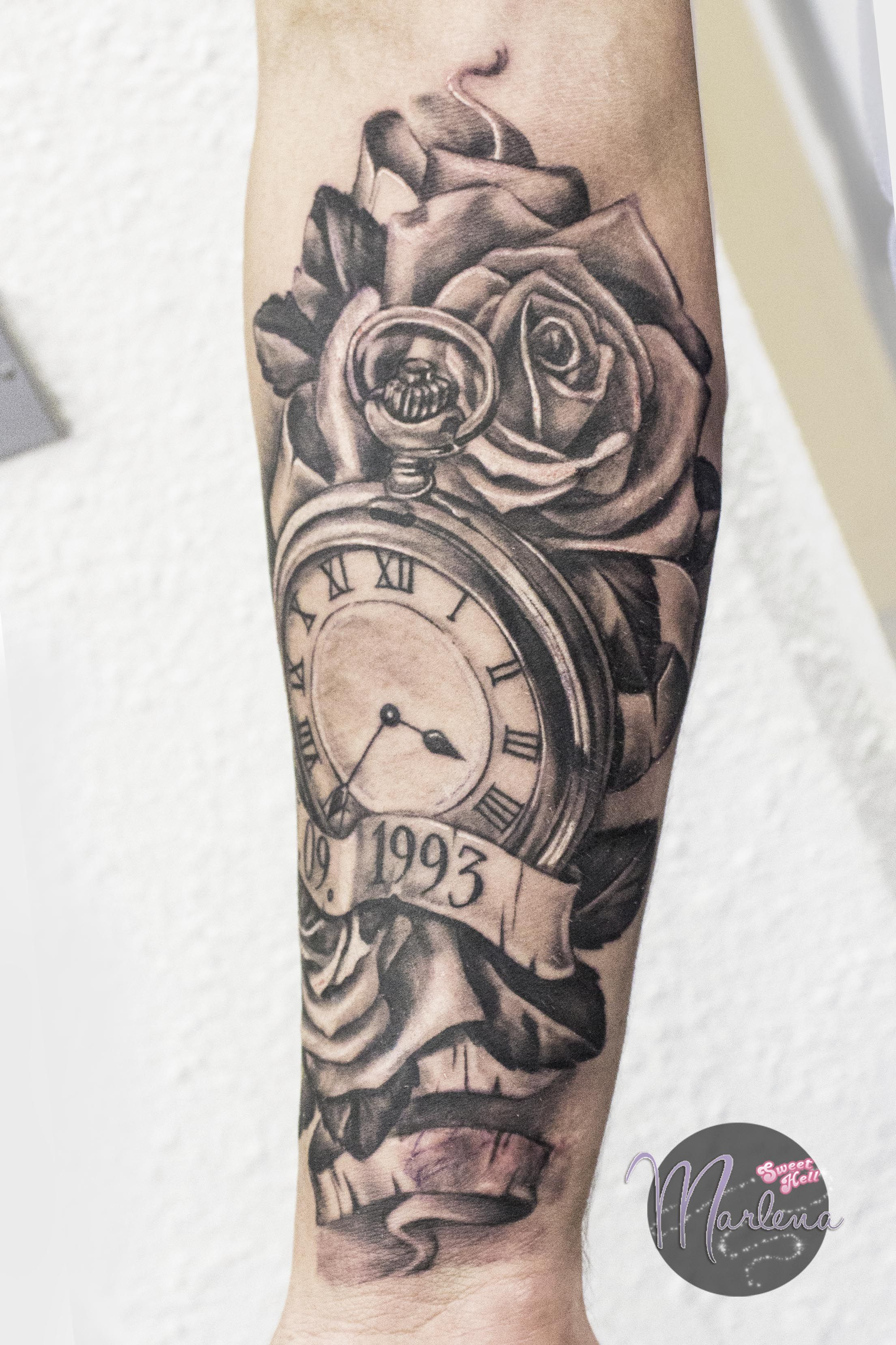 Memorial Tattoo Realistic Pocket Watch Roses And Birth Ideas And Designs