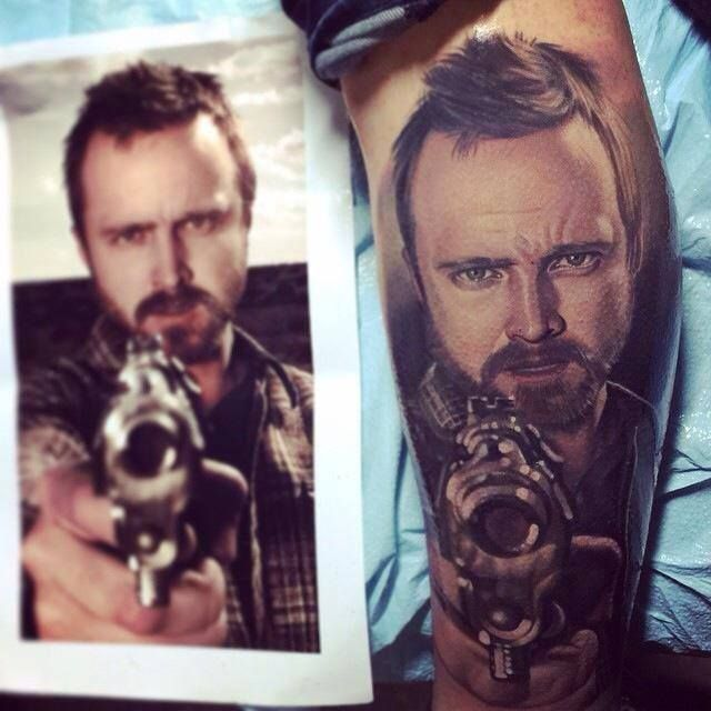 Tattoos Inked Aaron Paul Breaking Bad Tattoo Portrait Ideas And Designs