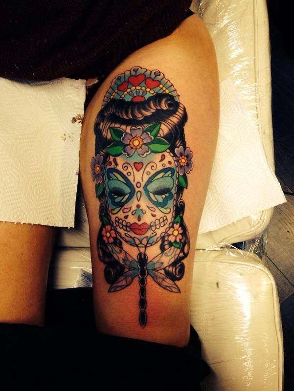 Thigh Tattoo By Bob Swain At New Age Tattoo Tattoos Ideas And Designs
