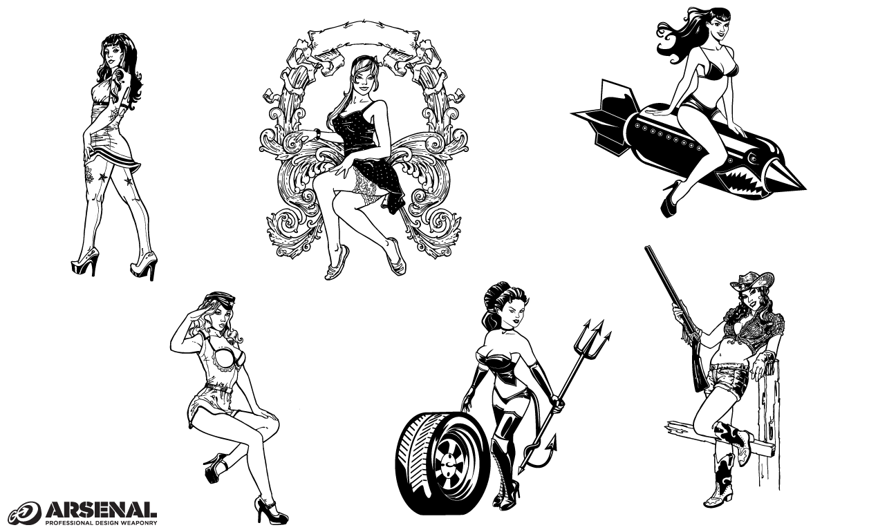 Pin Up Girls Vector Pack By Go Media S Arsenal Ideas And Designs