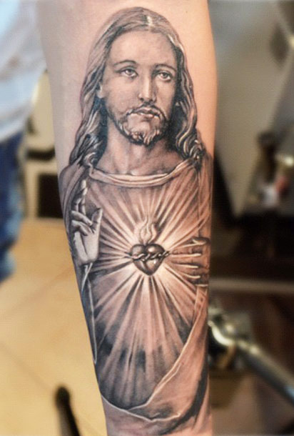 Black And Grey Religious 3D Jesus Tattoo On Forearm Ideas And Designs