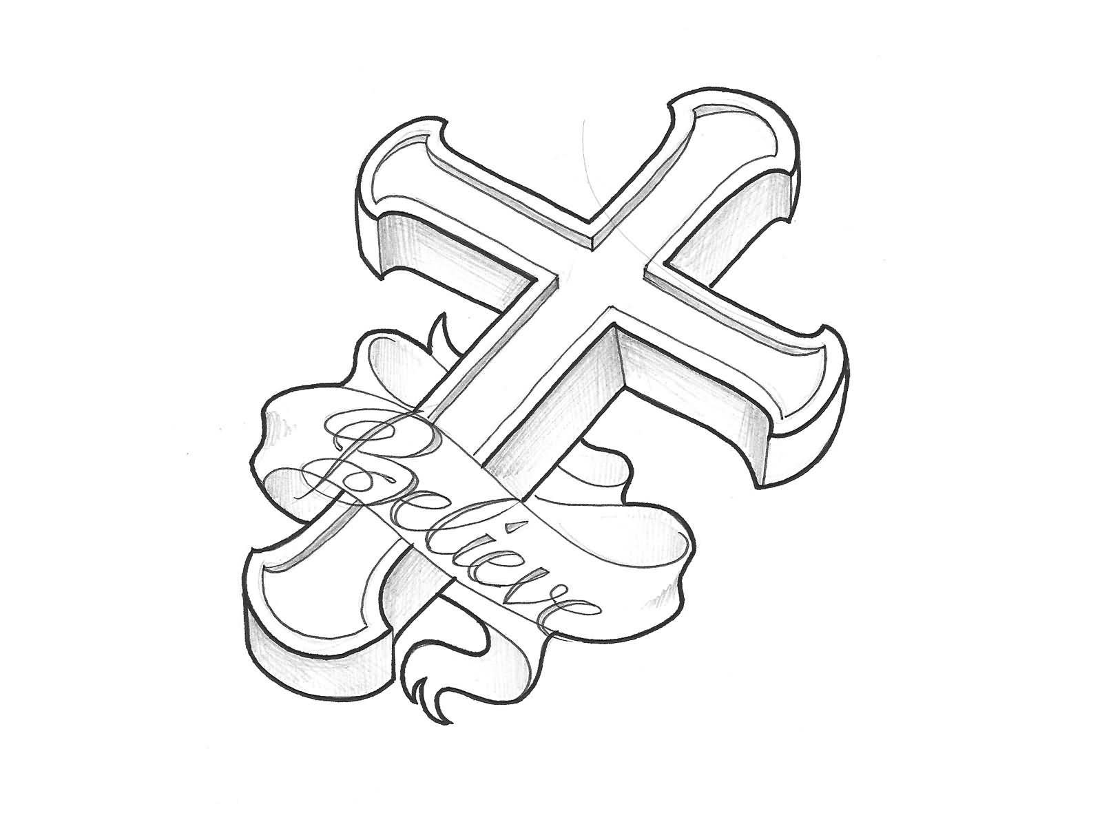 Religious Black 3D Cross With Banner Tattoo Stencil Ideas And Designs