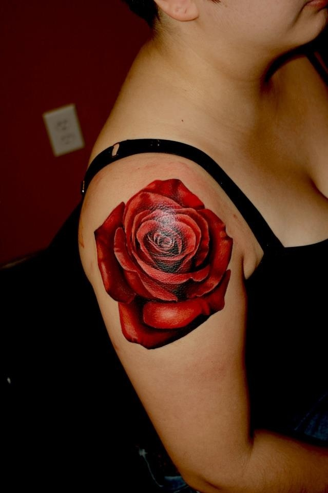 Realistic Red Rose Tattoo On Girl Right Shoulder Ideas And Designs