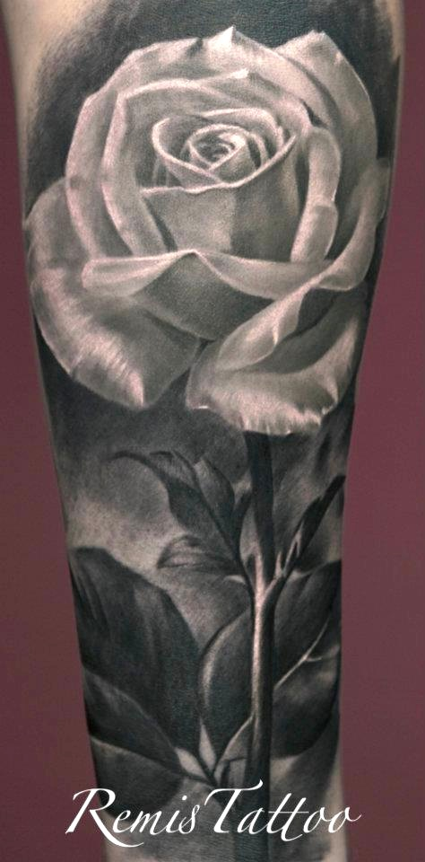 Grey Ink Rose Tattoo Design For Forearm Ideas And Designs