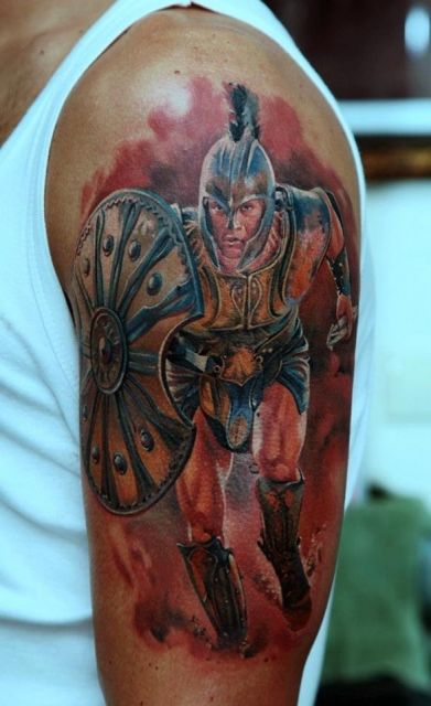 Achilles Warrior Tattoo On Man Left Half Sleeve Ideas And Designs