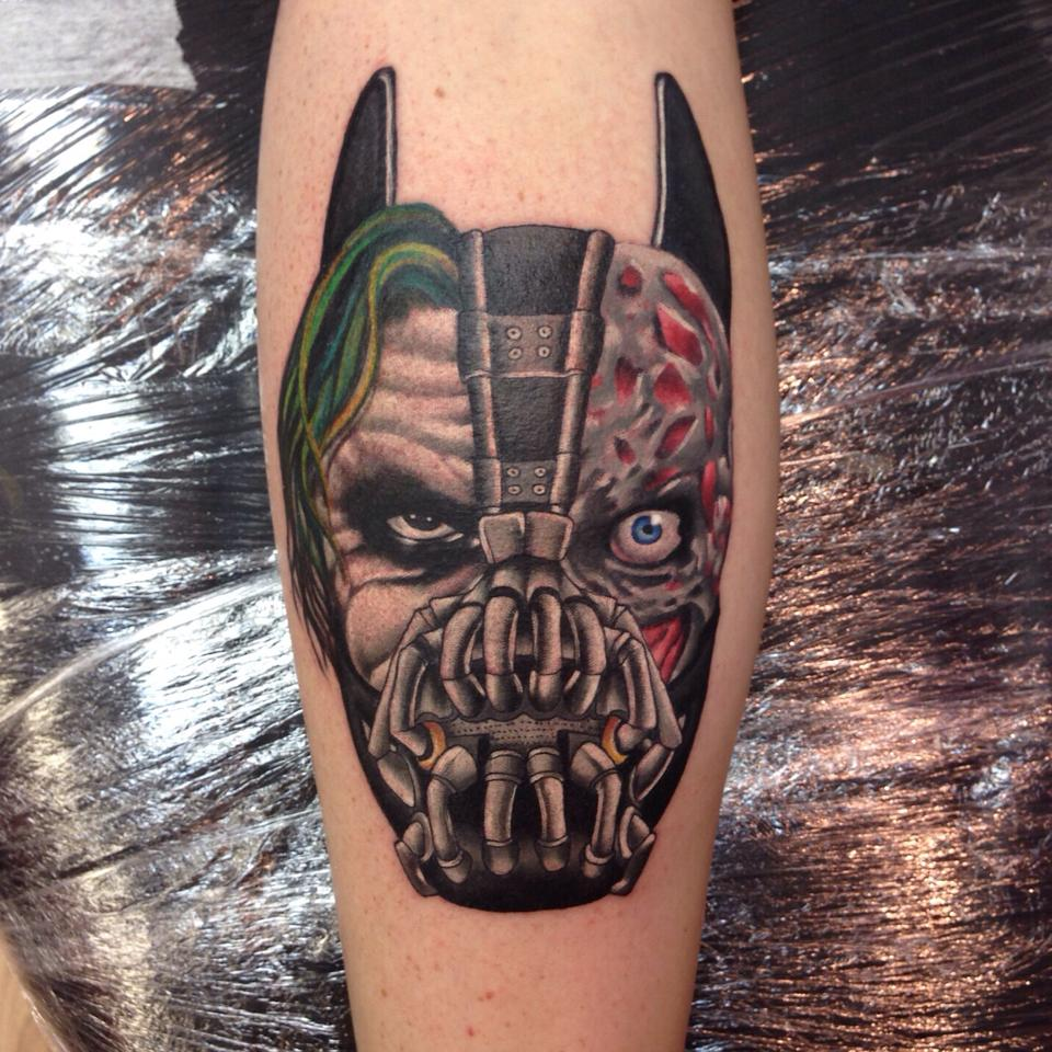 Impressive Bane Face Tattoo On Right Leg Calf By Shane Ideas And Designs