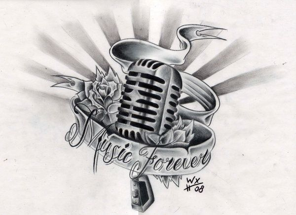 17 Microphone Tattoo Drawings Ideas And Designs