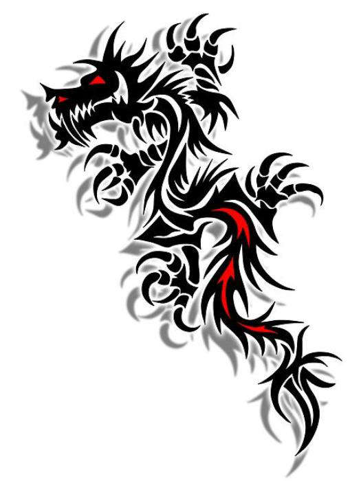 10 Colored Tribal Dragon Tattoo Ideas And Designs