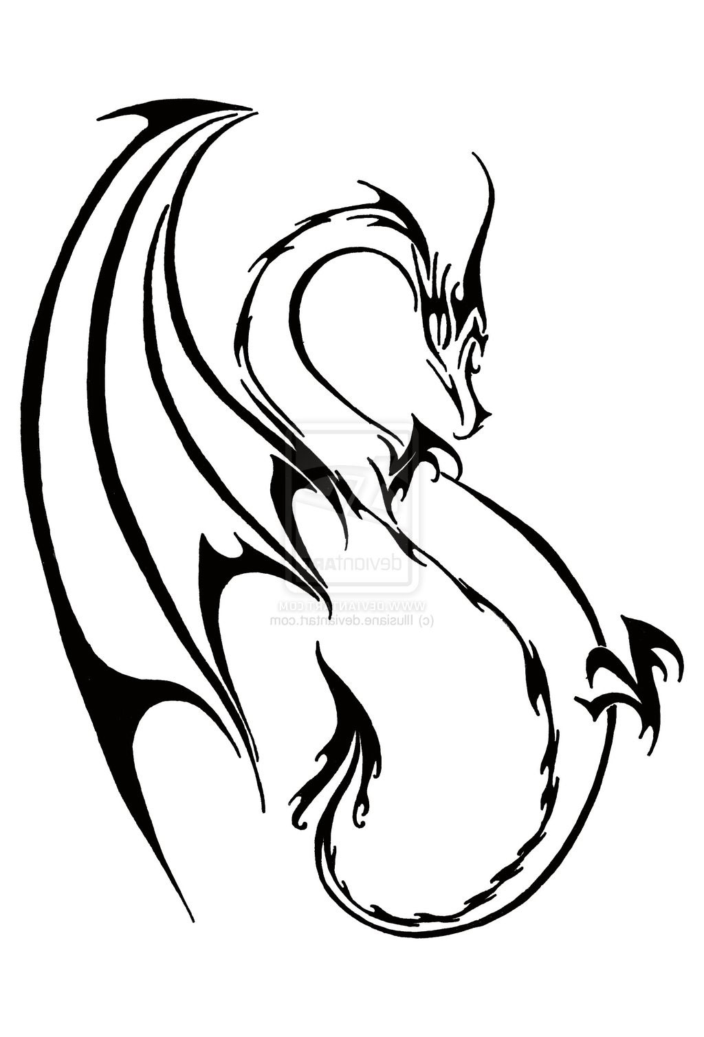 32 Simple Tribal Dragon Tattoos Ideas And Designs