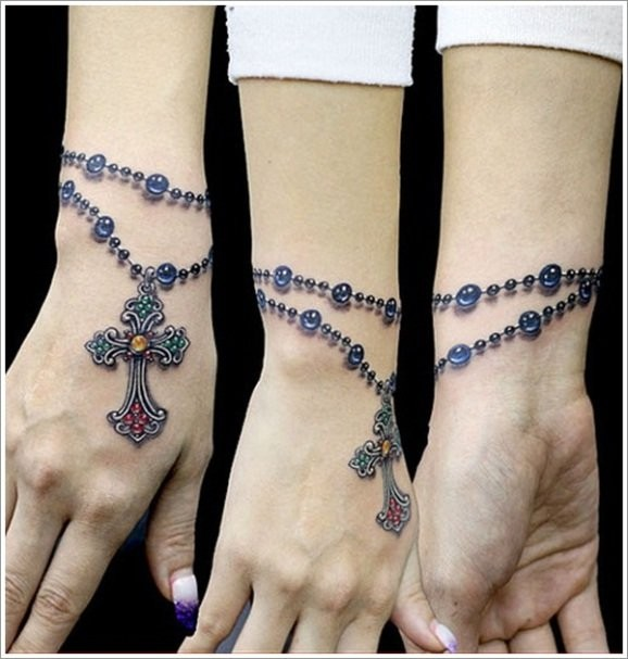 6 3D Rosary Tattoos On Wrist Ideas And Designs