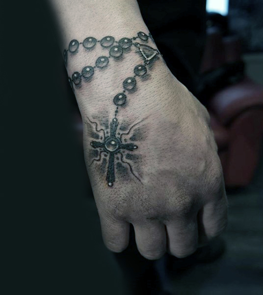 18 Wonderful Rosary Tattoos On Hand Ideas And Designs