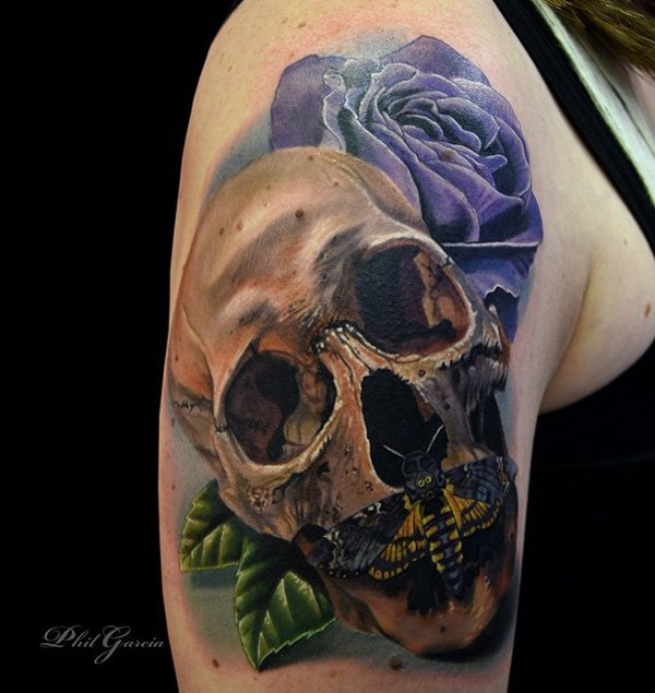 Mechanical 3D Skull Tattoo On Left Half Sleeve Ideas And Designs