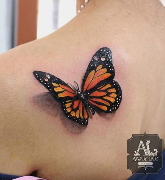 3D Monarch Butterfly Tattoo On Back Shoulder Ideas And Designs