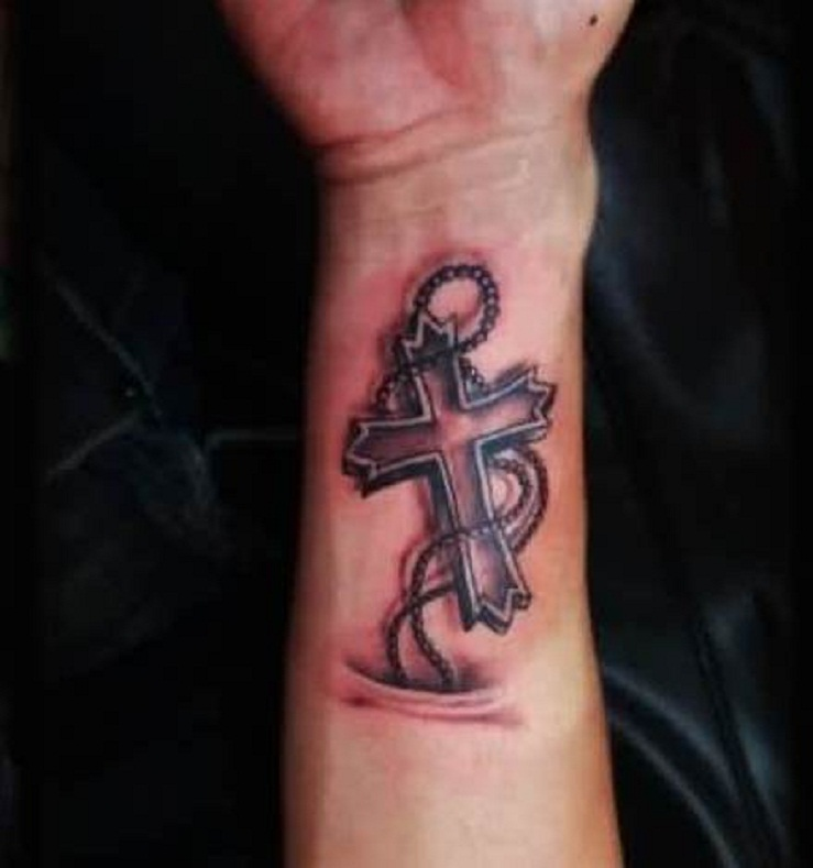 Realistic 3D Rosary Cross Tattoo On Forearm Ideas And Designs