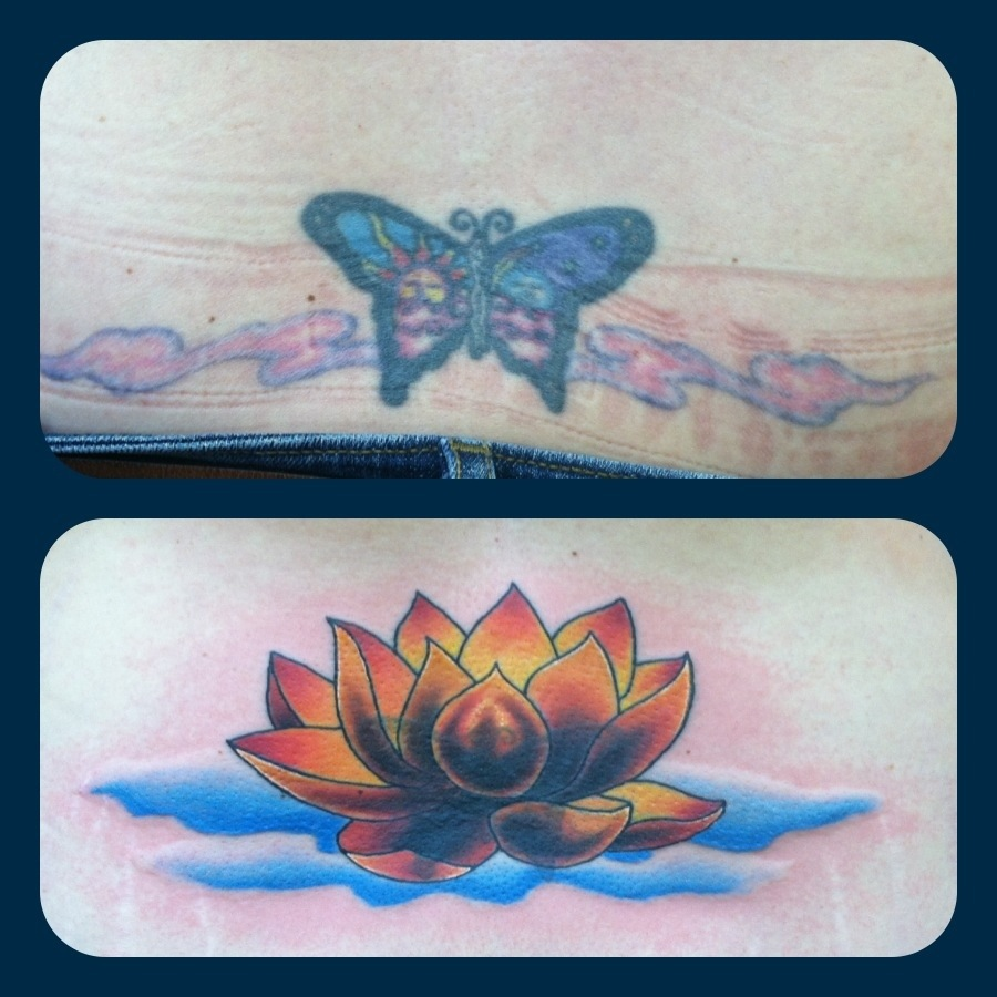 Cover Up Tattoo Lotus Flower By Jason Stowell Tattoos